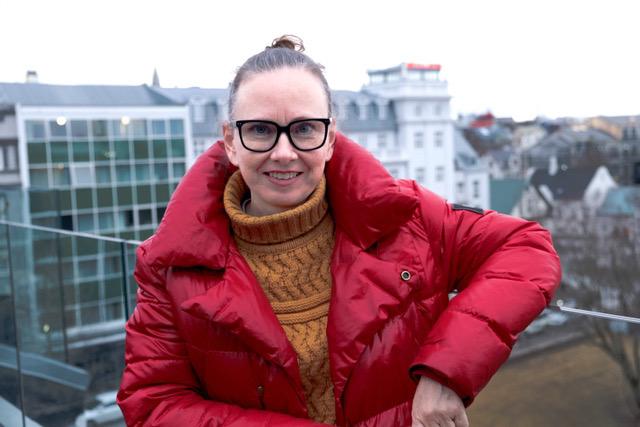 Yrsa on the balcony of club Kjarval